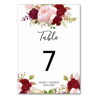 Red Tropical and Romantic Wedding Table Number