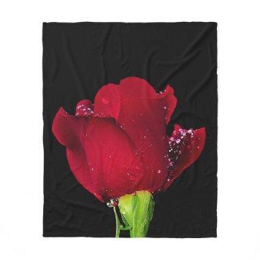 Red Wedding Rose Fleece Blanket