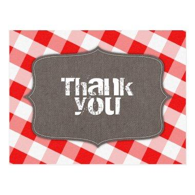 Red & White Gingham Canvas Thank You Post