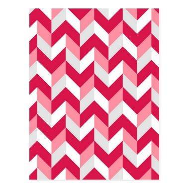 Red White Pink Herringbone Chevron Zigzag Pattern Post