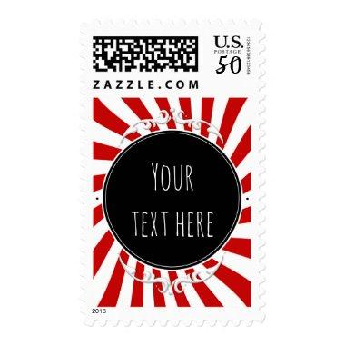 Red & White Whimsical Fun Stripes Party  Postage