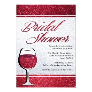 Red Wine Tasting Bridal Shower Invitations