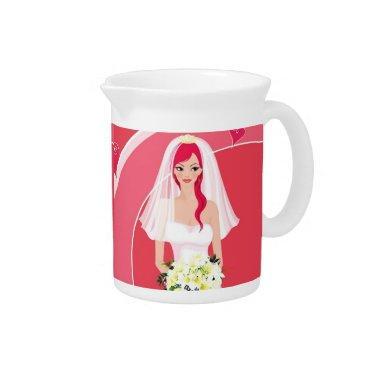Redheaded bride  beverage pitcher