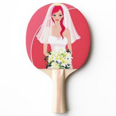 Redheaded bride  ping pong paddle