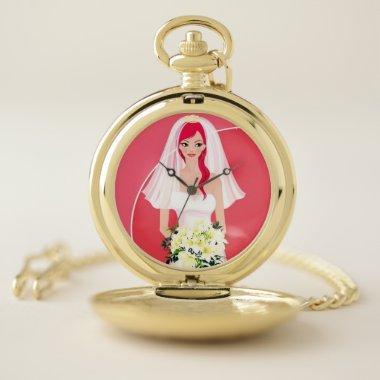 Redheaded bride  pocket watch