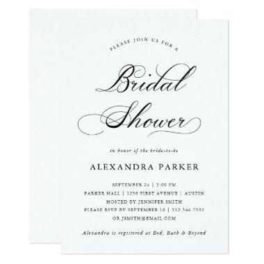Refined Black and White Calligraphy Bridal Shower Invitations