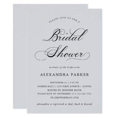 Refined | Calligraphy on Soft Gray Bridal Shower Invitations