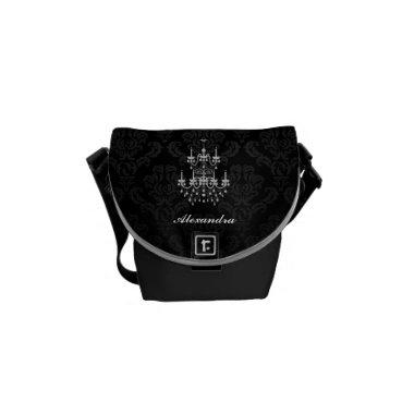 Regal Black and White Chandelier Damask Messenger Bag