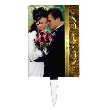 Regency Gold Scroll Gold Photo Cake Topper