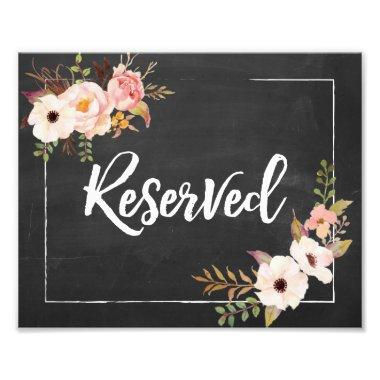 Reserved Rustic Floral Chalkboard Wedding Sign