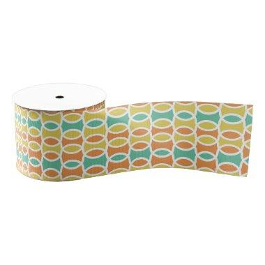 Retro 1960s Circles Ovals Orange Teal Gold Grosgrain Ribbon