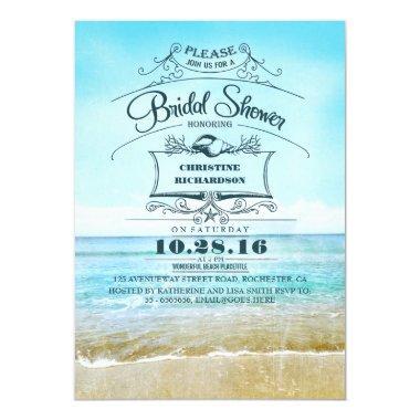Retro beach blue ombre bridal shower invites