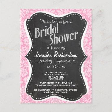 Retro Chalkboard Carnation Pink Damask Pattern Invitation PostInvitations