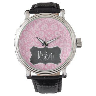 Retro Chalkboard Carnation Pink Damask Pattern Watch