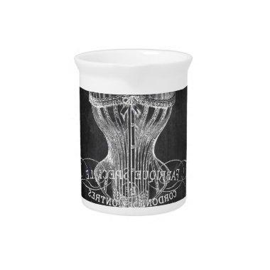 Retro chalkboard scripts victorian lingerie corset beverage pitcher