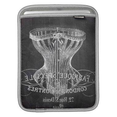 Retro chalkboard scripts victorian lingerie corset iPad sleeve