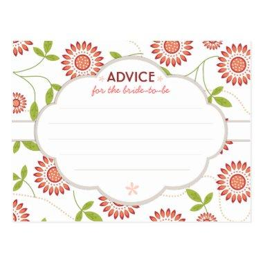 Retro Floral Bridal Shower Advice for Bride to Be PostInvitations