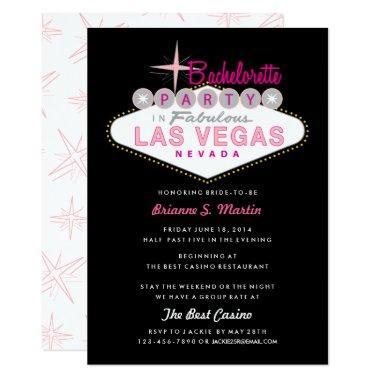 Retro Las Vegas Sign Pink Black Bachelorette Party