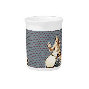 Retro pattern cute vintage pin up girl pitcher