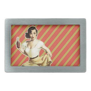 Retro pattern cute vintage pin up girl rectangular belt buckle