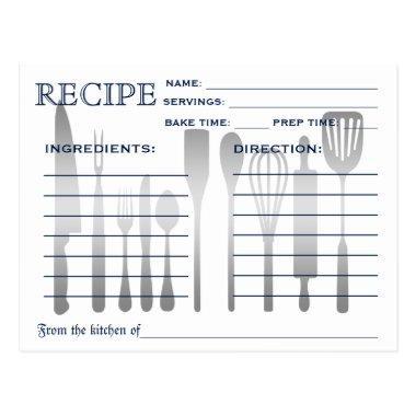 Retro Recipe  Blue Striped
