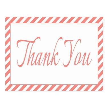 Retro Thank You Pink And White Stripes PostInvitations