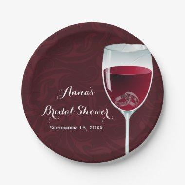 Rings in Wine Glass Bridal Wedding Shower Paper Plate