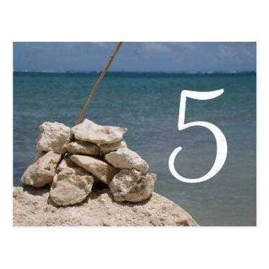 Rocks on the Beach Table Number Post