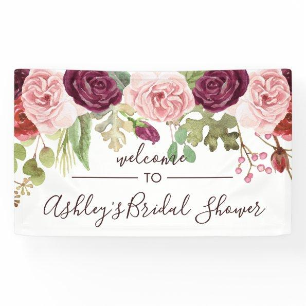 Romantic Blooms Shower Welcome Banner