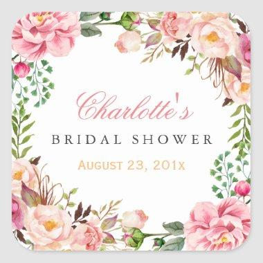 Romantic Chic Floral Wreath Wedding  Square Sticker