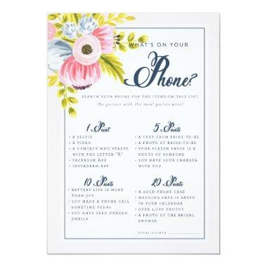 Romantic Floral Bridal Shower Phone Game Invitations