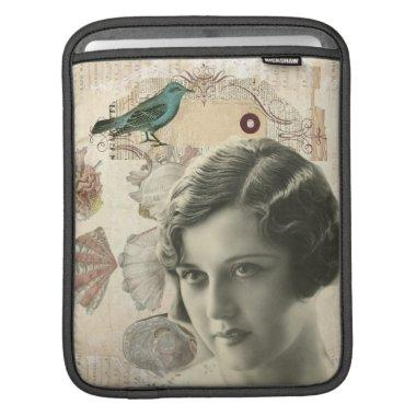 romantic french bird great gatsby girl fashionista iPad sleeve