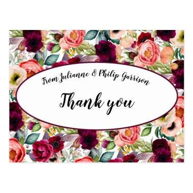 Romantic Garden Floral Wedding Thank you PostInvitations