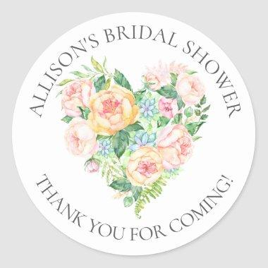 Romantic Heart Bridal Thank You Shower Sticker