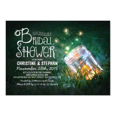 Romantic mason jar & fireflies bridal shower Invitations