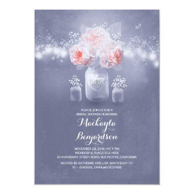 romantic mason jar rustic lights bridal shower Invitations