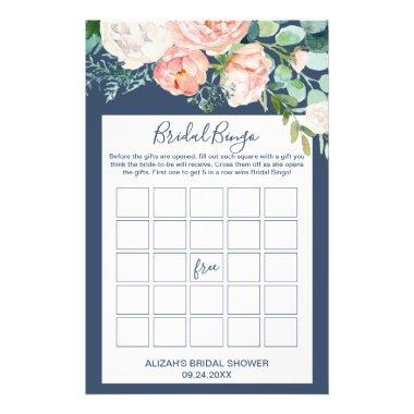 Romantic Peony Flowers | Blue Bridal Bingo Game Flyer