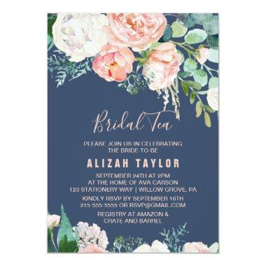 Romantic Peony Flowers | Blue Bridal Tea Invitations