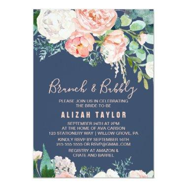 Romantic Peony Flowers | Blue Brunch & Bubbly Invitations