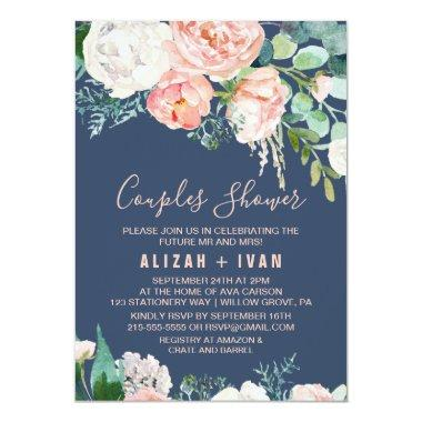 Romantic Peony Flowers | Blue Couples Shower Invitations
