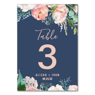 Romantic Peony Flowers | Blue Table Number
