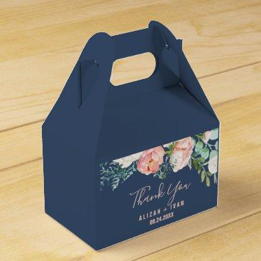 Romantic Peony Flowers | Blue Thank You Favor Box
