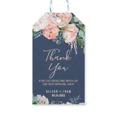 Romantic Peony Flowers | Blue Thank You Favor Gift Tags