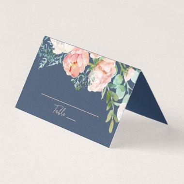 Romantic Peony Flowers | Blue Wedding Place Invitations