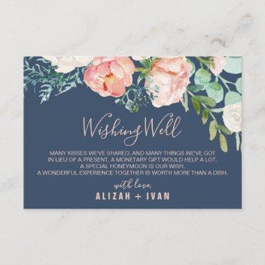 Romantic Peony Flowers | Blue Wedding Wishing Well Enclosure Invitations