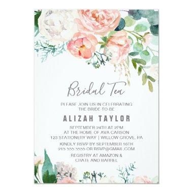 Romantic Peony Flowers Bridal Tea Invitations