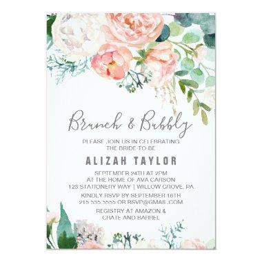 Romantic Peony Flowers Brunch & Bubbly