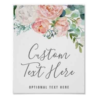 Romantic Peony Flowers Custom Text Sign