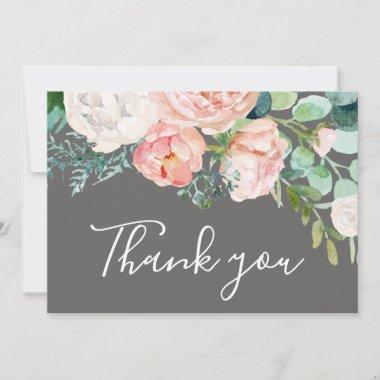 Romantic Peony Flowers | Gray Thank You Invitations