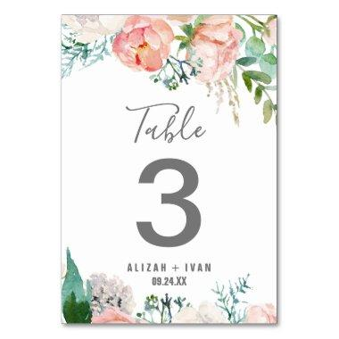 Romantic Peony Flowers Table Number